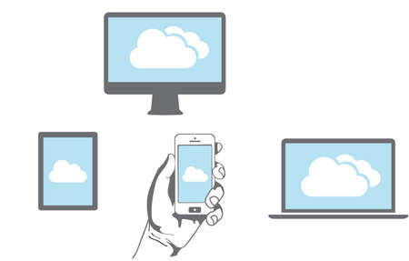 workstation: Cloud computing Network Connected all Devices Illustration