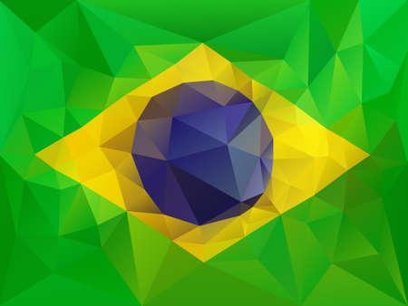 brazil flag: Brazil flag low poly illustration Illustration