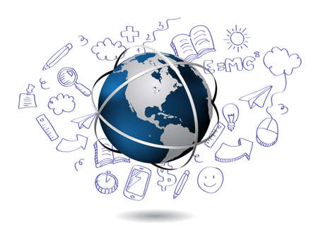 global work company: Doodle with globe Illustration