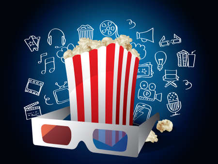 Realistic Movie Elements with Doodle Vector