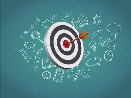 Target Illustration with doodle 矢量图像