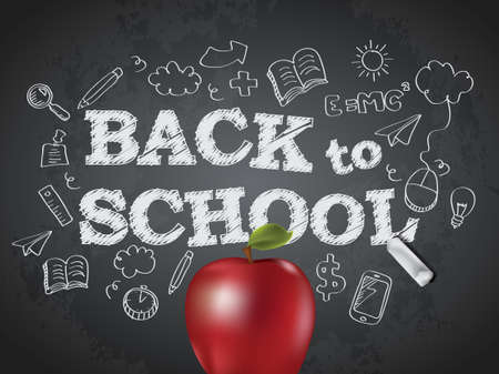 Back to school poster with text on chalkboard and apple Vector
