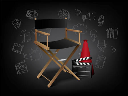 Realistic Movie Elements with Doodles Vector