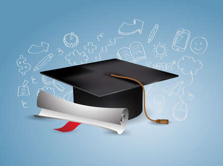 Black Graduation Cap with Degree - with doodles Vector