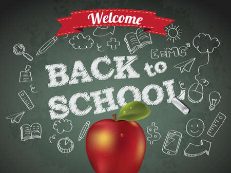 Welcome back to school with text on chalkboard and apple Vector