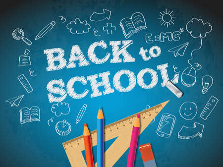 Back to school poster with doodles and pencils 矢量图像