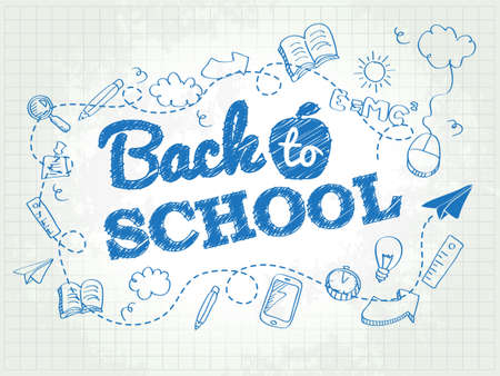 Back to school poster with doodles Stock fotó - 31539559