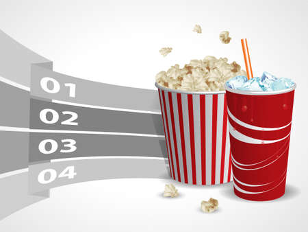 soda pop: Popcorn and soda with graphic informations - Vector illustration Illustration