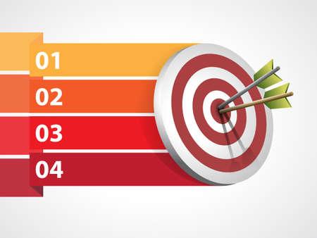 objetivo: Blanco con las flechas con informaciones gráficas - ilustración vectorial