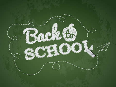 kids glasses: Back to school text on green chalkboard Illustration
