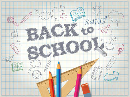 Back to school poster with doodles and pencils Illustration