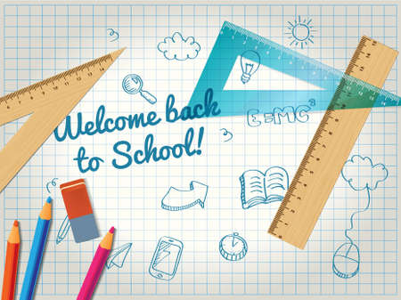 square ruler: Back to school poster with doodles and pencils Illustration