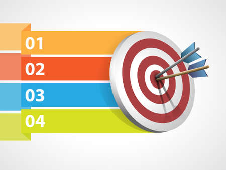 perfection: Target with arrows with graphic informations - Vector illustration