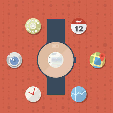 time sharing: Smart watch concept with icons in modern flat design