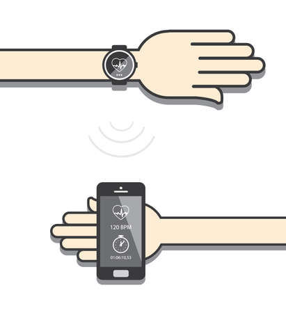 wireless connection: Smartwatch and smartphone communication. Smartwatch sending fitness information to smartphone via wireless connection