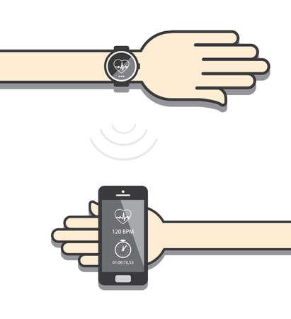 wireless communication: Smartwatch and smartphone communication. Smartwatch sending fitness information to smartphone via wireless connection