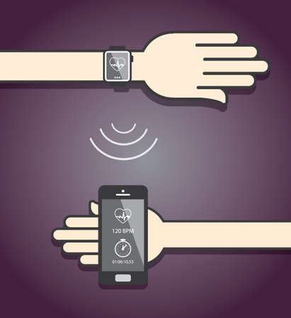 wristband: Smartwatch and smartphone communication. Smartwatch sending fitness information to smartphone via wireless connection