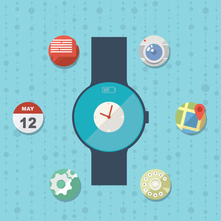 Smart watch concept with icons in modern flat design