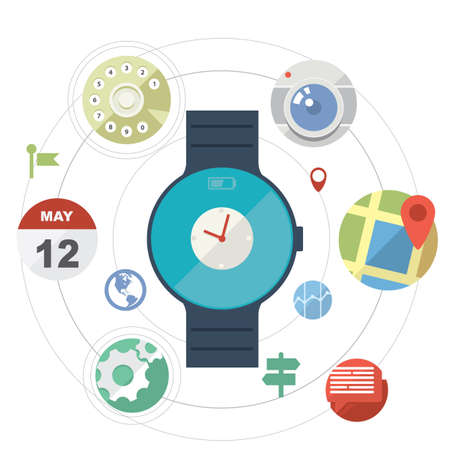 Smart watch concept with icons in modern flat design Vector