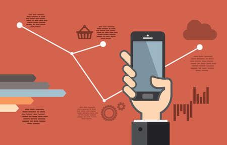 Mobile application development or smartphone app programming - flat design