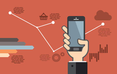 mobile application: Mobile application development or smartphone app programming - flat design