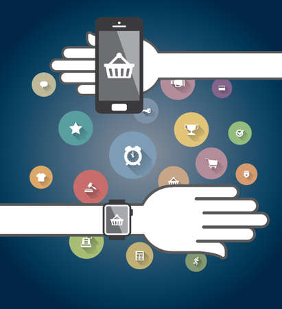 Smartwatch and Smart phone with colorful Ecommerce Icons Illustration