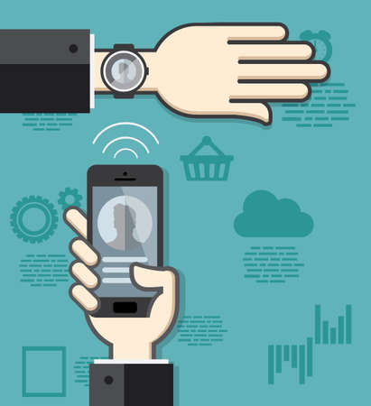Smartwatch and smartphone communication. Smartphone sending contact details to smartwatch via wireless connection 矢量图像