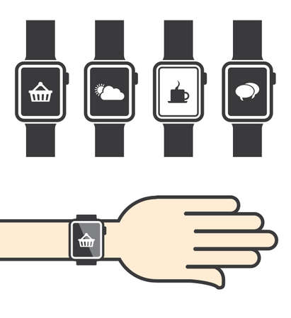 Smartwatch with Icons Vector