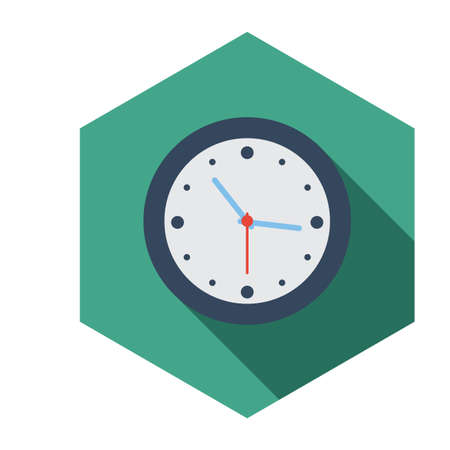 long shadow: Flat long shadow clock icon