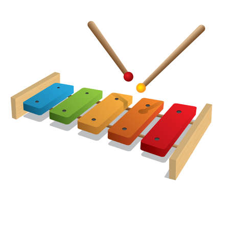 xylophone: illustration of xylophone on a white background
