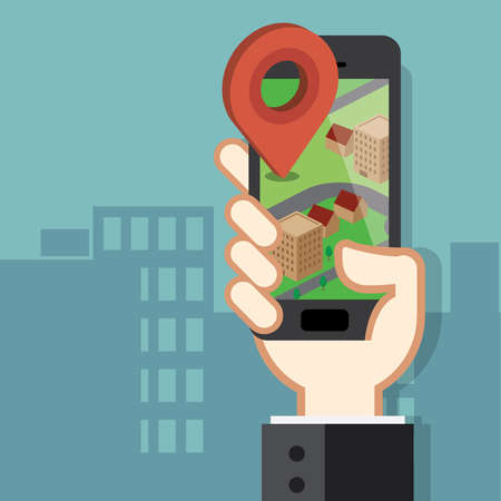 Mobile phone navigation app and gps concept