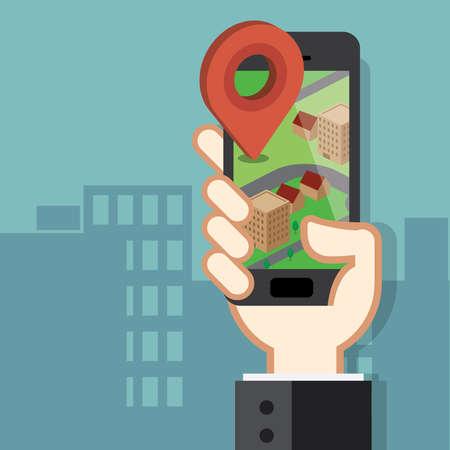 navigazione: Telefono cellulare applicazione di navigazione e gps concetto Vettoriali