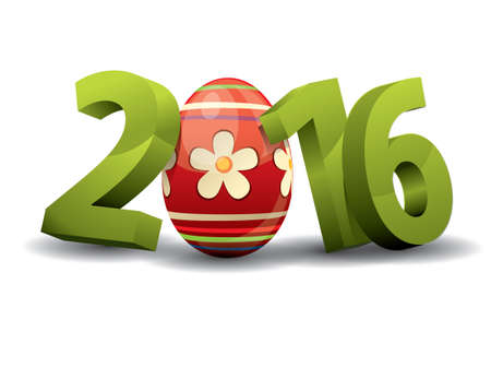 turns of the year: 2016 Easter - 3d Text with Easter Egg Illustration