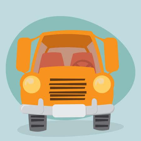 Cartoon Yellow Truck - front view