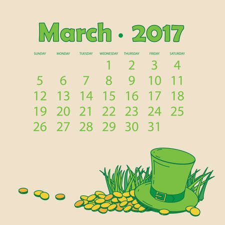 calendar day: Calendar for march . Calendar with a green hat and gold coins. St. Patricks Day