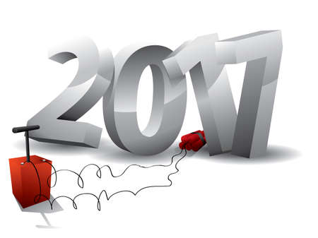 2017  Bomb - 3d text with Dynamite Illustration