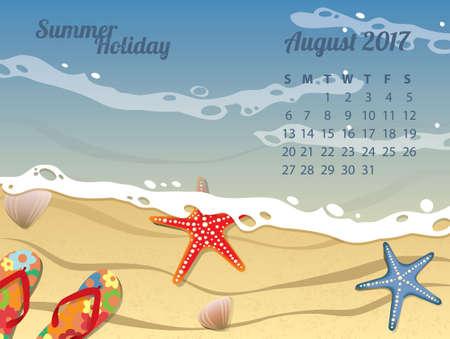 Beach Calendar for August 2017