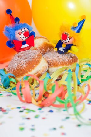 donuts or krapfen with clowns, confetti and streamer Stock Photo - 11740446