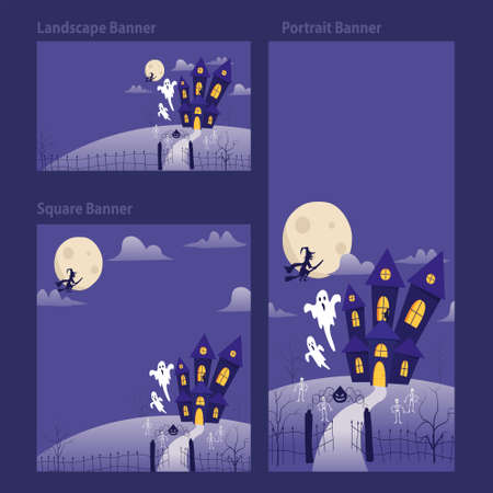 Halloween banner template vertical horizontal and square background with ghost, haunted house and full moon. Banner Ads, Flyer, invitation card background for Halloween event. Vector illustration.