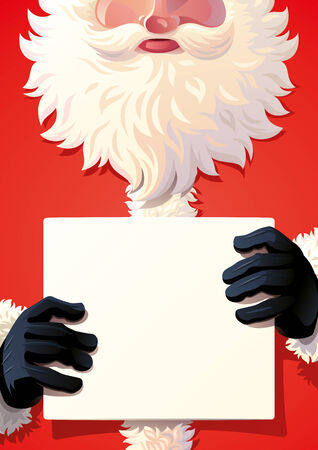 poster red: Santa Claus holding a sing