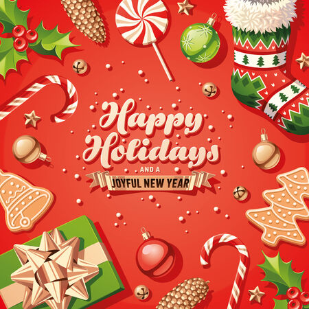 happy holidays: Holiday Decorations Card