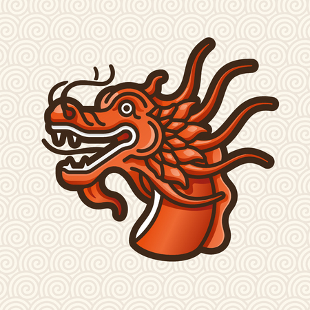 japanese culture: Dragon red head vector icon - illustration