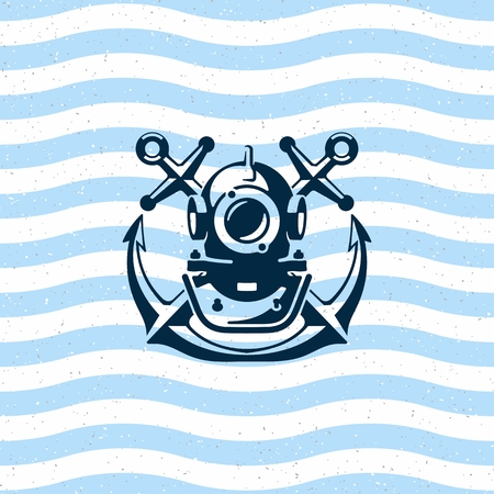 Diving helmet with anchors. icon - Illustration