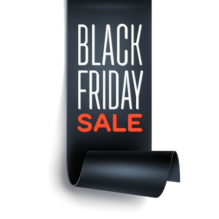 curved ribbon: Black Friday sale inscription design template with black detailed curved ribbon. Black Friday banner.