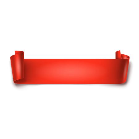 curved ribbon: Red detailed curved ribbon isolated on white background. Curved paper banner.