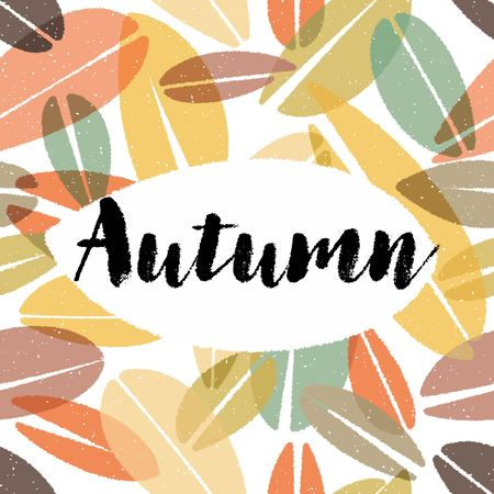Chalk Autumn Calligraphy on Leaves Background Illustration