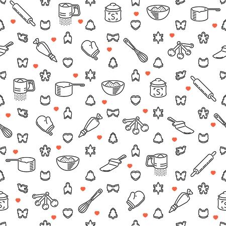Vektor-Illustration von Seamless Hintergrund mit Restaurant und Küchenutensilien.