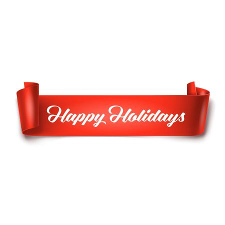 curved ribbon: Happy Holidays inscription on red detailed curved ribbon