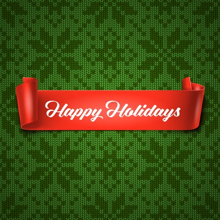 handicrafts: Happy Holidays greeting card with red ribbon on seamless knitted pattern
