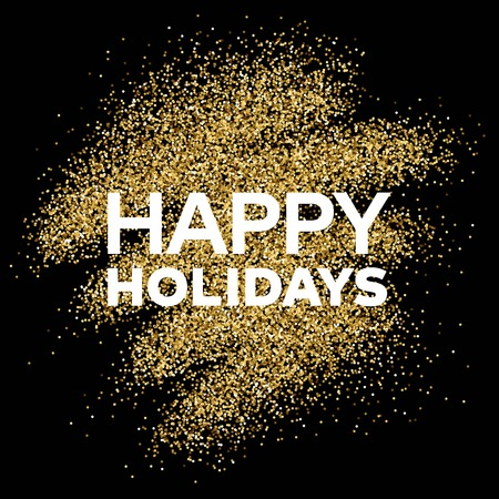 slick: Gold glitter background with Happy Holiday inscription